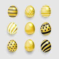 conjunto de ovo de páscoa de ouro vetor