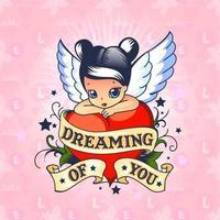 sonhando com sua linda fada alada com coração amor vetor