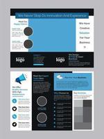 brochura bi-fold azul e preto de negócios