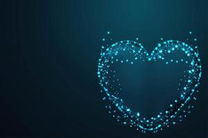 malha de armação de arame poligonal de coração vetor