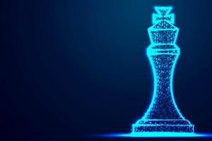xadrez rei estrutura de arame polígono blue frame vetor
