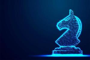 xadrez cavaleiro arame armação polígono blue frame vetor