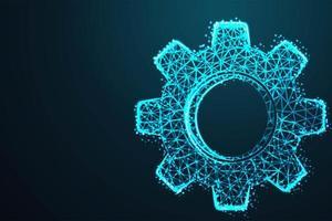 engrenagem em abstrato design azul brilhante