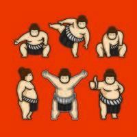 conjunto de caracteres japoneses de sumô vetor