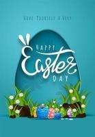 cartão de Páscoa com moldura de forma de ovo de corte de papel vetor