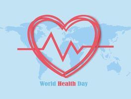 quadro de coração dia mundial da saúde com mapa