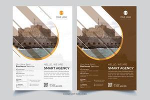 modelos de design de folheto laranja, branco e marrom vetor