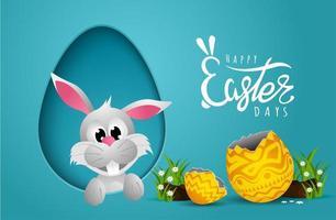 cartão de Páscoa com papel cortado quadro de forma de ovo e coelho vetor