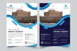 modelo de folheto de negócios de design ondulado azul e branco