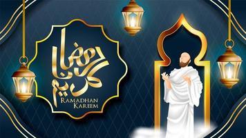 fundo de ramadan kareem rezando vetor