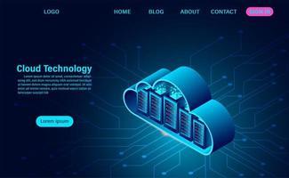 página de destino da tecnologia de nuvem