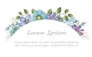 quadro em aquarela floral arco vetor