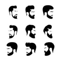 conjunto de barba e penteados masculinos vetor