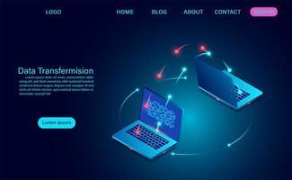 transmissão e troca de dados entre laptops