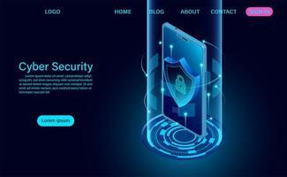 segurança cibernética no banner do telefone vetor