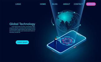 smartphone com o conceito de tecnologia global. vetor