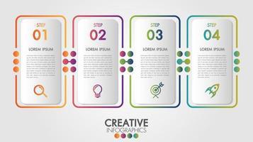 modelo de infográfico com ícones e 4 opções vetor