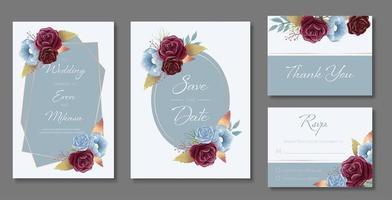 cartão de casamento em aquarela definido em azul com rosas