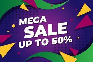banner de venda moderna com triângulos e pontos vetor