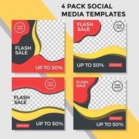 pacote de estilo de onda de banner de mídia social laranja e amarelo vetor