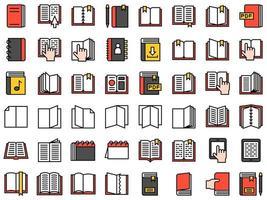 conjunto de ícones de livro e caderno