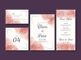 conjunto de cartão de casamento aquarela floral linha arte