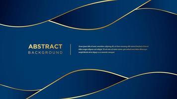 design ondulado azul e ouro vetor