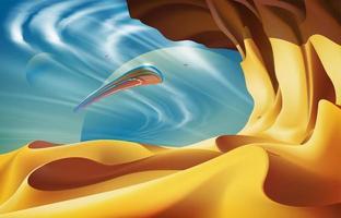 aeronaves na arte do cenário do deserto