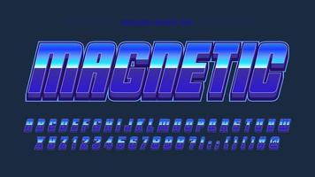 design de tipografia metálica azul vetor