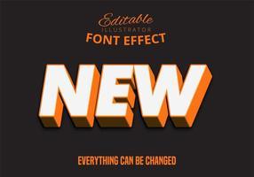 Efeito 3D forte texto em negrito laranja vetor