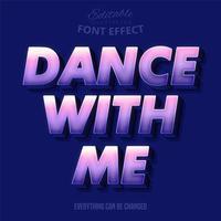 dance comigo texto, efeito de texto editável vetor