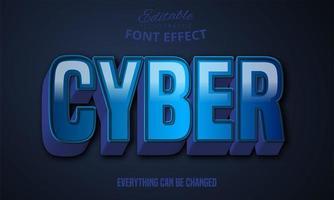 Efeito 3D forte texto em negrito azul vetor