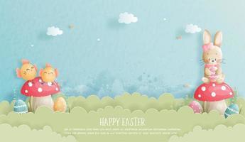 cartão de Páscoa com coelho e pintinho estilo de corte de papel vetor