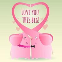 elefantes rosa envolvidos expressam amor este grande vetor