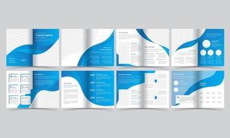 brochura azul e branca com detalhes curvos