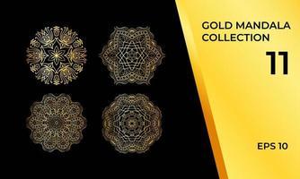 coleção de luxo de mandalas douradas vetor
