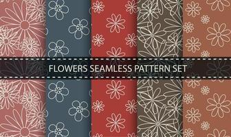 conjunto de padrão sem emenda de contorno de flor. vetor