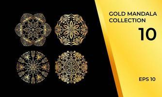 pacote de ouro de mandalas em detalhes abstratos.