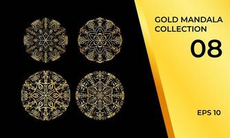 mandalas em conjunto ouro ou amarelo