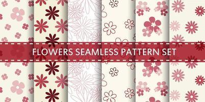 conjunto de padrão sem emenda de flores vermelhas e rosa vetor