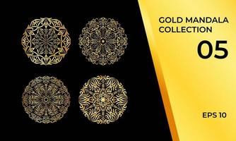 coleção de símbolo de ornamento dourado vetor