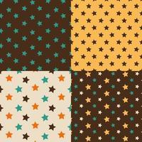 conjunto de estrelas marrom e amarelo padrão sem emenda vetor