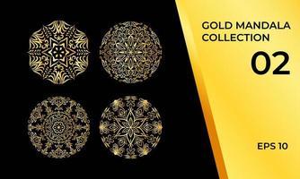 coleção de mandala decorativa em ouro vetor