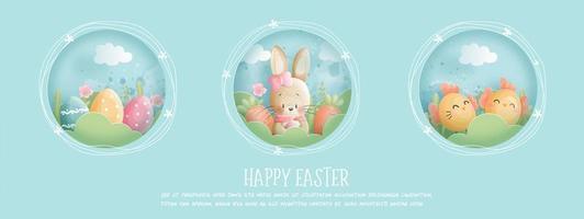 banner de feliz páscoa com coelho, ovos e filhote vetor