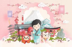 colagem de viagens com tema japonês vetor