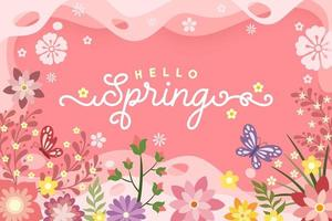 cartaz floral '' olá primavera '' vetor