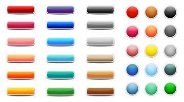 conjunto de botões web coloridos vetor