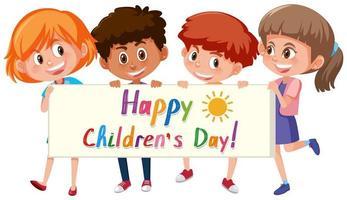 feliz dia das crianças banner vetor