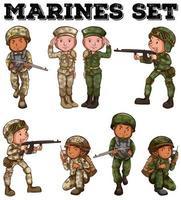 fuzileiros navais no conjunto uniforme dos desenhos animados vetor