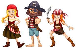 três personagens piratas em fundo branco vetor